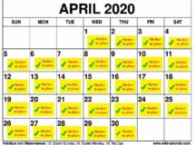 April calendar showing shelter-in-place days