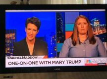 Split screen of Rachel Maddow and Mary Trump