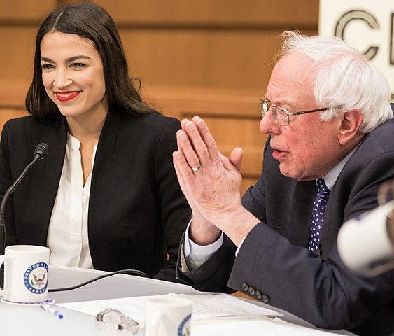 Alexandra Ocasio-Cortez and Bernie Sanders