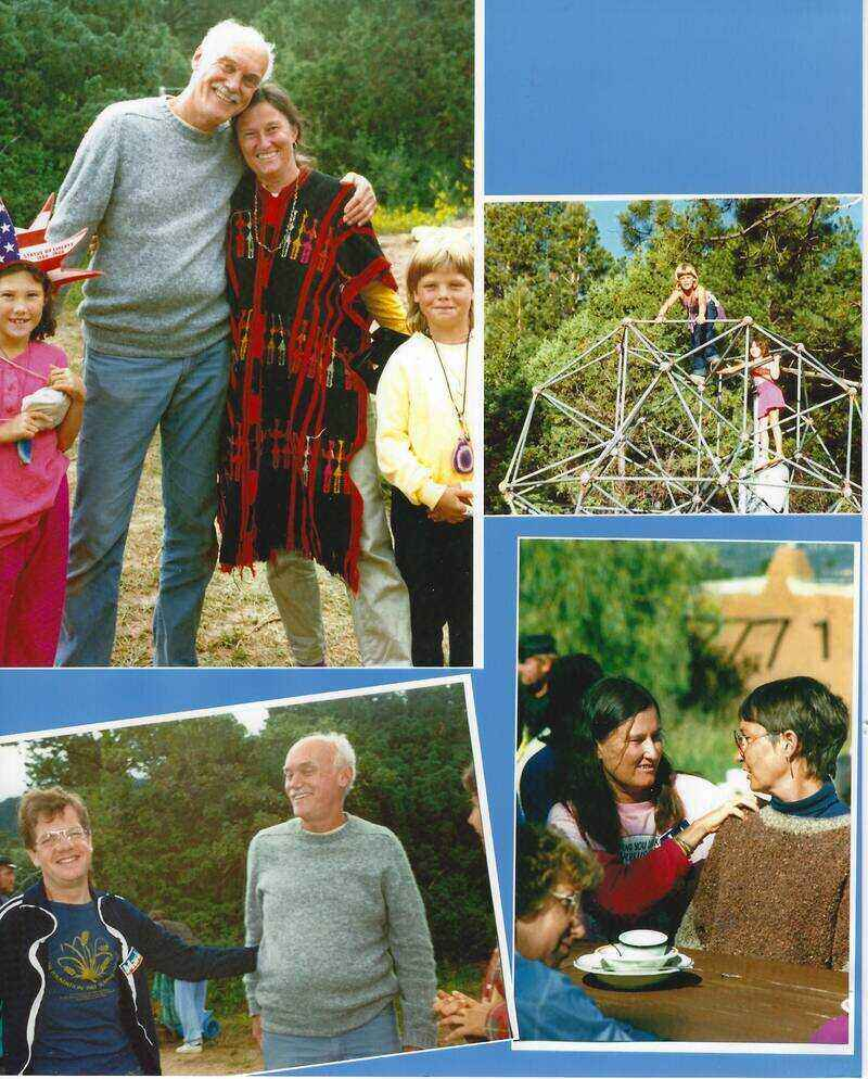 Collage of pictures - various people with Ram Dass
