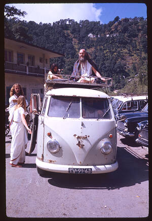 Ram Dass on top of VW Bus