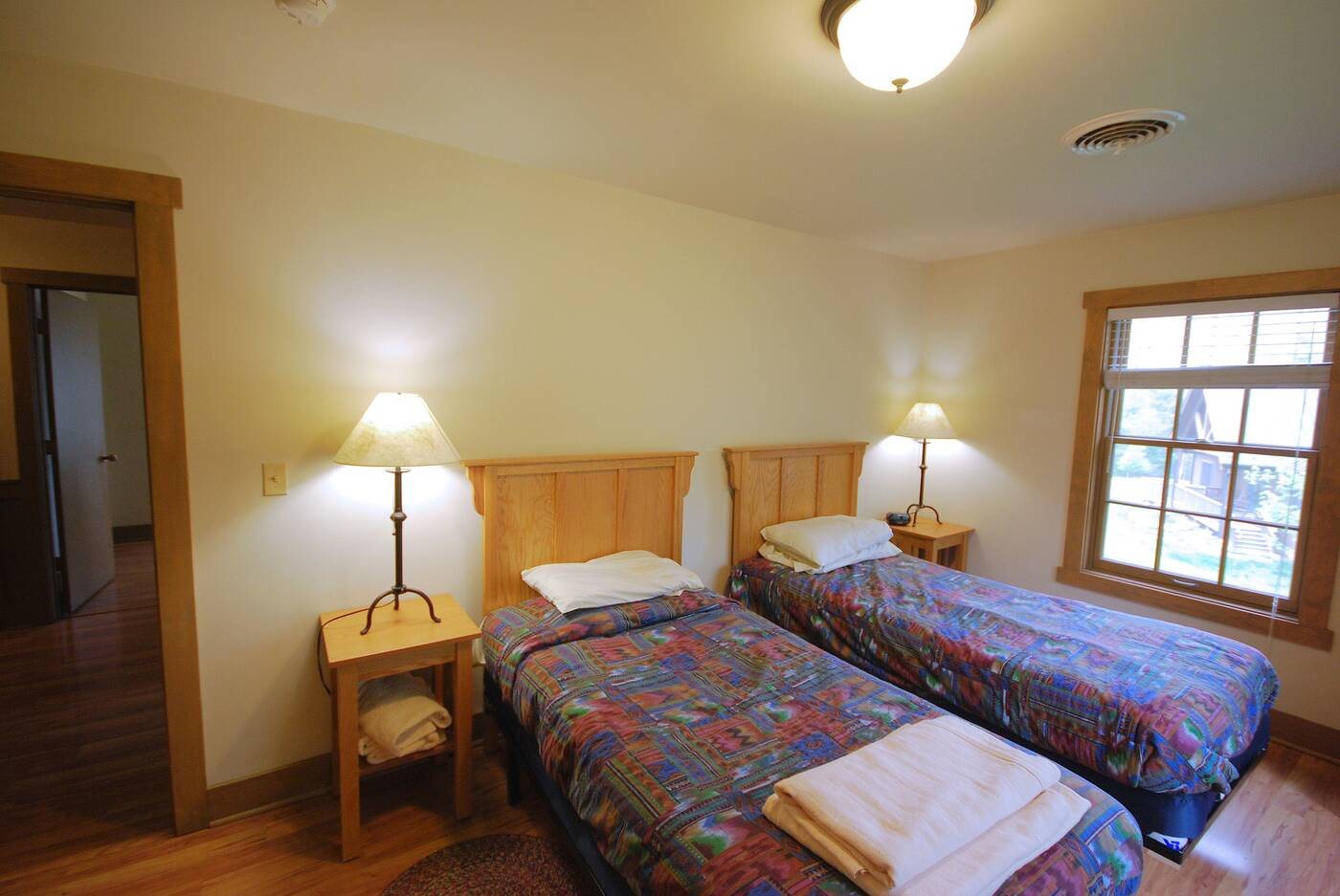 Two twin beds, side by side