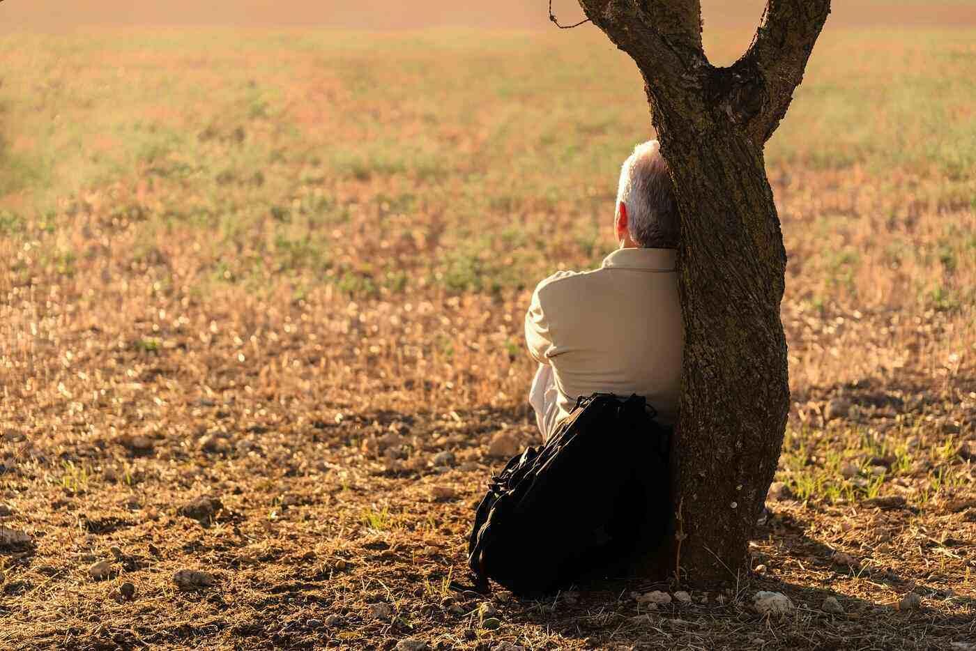 Senior man sitting under tree